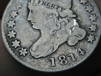 1814 CAPPED BUST SILVER DIME- LARGE DATE- FINE DETAILS