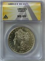 1880 S SAN FRANCISCO MORGAN SILVER DOLLAR VAM-47 DOUBLED DATE ANACS MINT STATE 65 844
