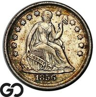 1856 SEATED LIBERTY HALF DIME CHOCIE AU   COLLECTOR TYPE COI