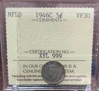 1946 C NEWFOUNDLAND 5 CENTS ICCS CERTIFIED VF30