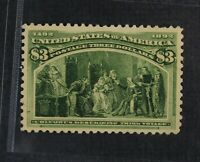 CKSTAMPS: US STAMPS COLLECTION SCOTT243 $3 COLUMBIAN MINT H OG PERF SPOT THIN