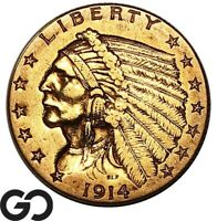 1914 QUARTER EAGLE $2.5 GOLD INDIAN    FREE SHIPPING