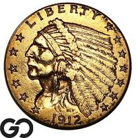 1912 QUARTER EAGLE $2.5 GOLD INDIAN    FREE SHIPPING