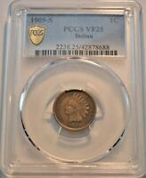 1909 S 1C PCGS VF 25 INDIAN HEAD CENT SCARCE KEY DATE PENNY
