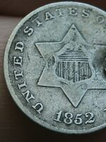 1852 THREE 3 CENT SILVER TRIME- FINE/VF DETAILS