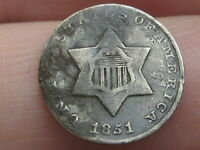 1851 THREE 3 CENT SILVER TRIME- FINE/VF DETAILS