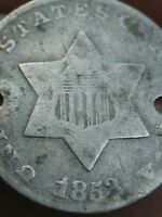 1853 THREE 3 CENT SILVER TRIME- VG DETAILS