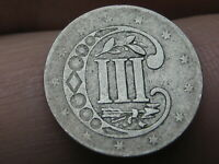1856 THREE 3 CENT SILVER TRIME- TYPE 2- VG/FINE DETAILS
