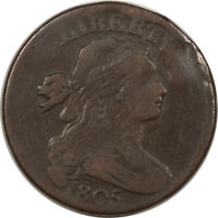 1805 DRAPED BUST LARGE CENT - SMOOTH F DETAILS WITH ISSUES