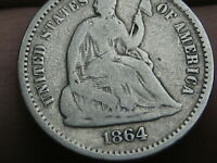 1864 S SEATED LIBERTY HALF DIME, VG DETAILS