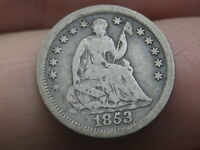 1853 SEATED LIBERTY HALF DIME- NO ARROWS, VG/FINE DETAILS