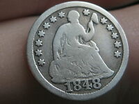 1848 SEATED LIBERTY HALF DIME-   LARGE DATE, VG DETAILS