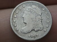 1837 CAPPED BUST SILVER HALF DIME- SMALL 5C, VG/FINE DETAILS
