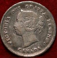 1888 CANADA 5 CENTS SILVER FOREIGN COIN