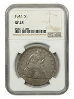 1842 $1 NGC EXTRA FINE 45 - LOW MINTAGE DATE - LIBERTY SEATED DOLLAR - LOW MINTAGE DATE