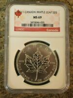 2011 CANADA SILVER MAPLE LEAF NGC MS69 BEAUTIFUL .999 SILVER