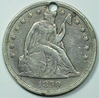 1850 SEATED LIBERTY $1 DOLLAR EXTRA FINE DETAILS EXTRA FINE  HOLED, CLEANED, GRAFITTI