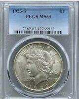 1923-S PCGS MINT STATE 63 PEACE SILVER DOLLAR