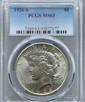 1926-S PCGS MINT STATE 63 PEACE SILVER DOLLAR
