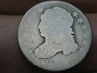 1827 CAPPED BUST SILVER DIME- LOWBALL, HEAVILY WORN, PO1 CANDIDATE?