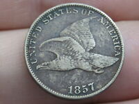 1857 FLYING EAGLE PENNY CENT- EXTRA FINE  DETAILS
