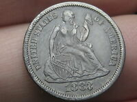 1883 P SEATED LIBERTY DIME- EXTRA FINE  OBVERSE DETAILS