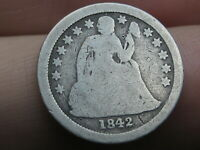 1842 O SEATED LIBERTY SILVER DIME- GOOD DETAILS, FULL DATE