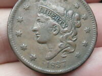 1837 MATRON HEAD LARGE CENT PENNY- HEAD OF 1838, VF/EXTRA FINE  DETAILS