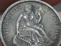 1875-S SEATED LIBERTY DIME- VF/EXTRA FINE  DETAILS- MINTMARK ABOVE BOW-