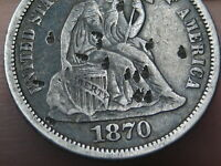 1870 SEATED LIBERTY DIME- FINE/VF OBVERSE DETAILS