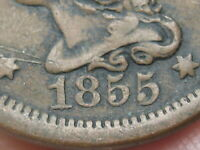 1855 BRAIDED HAIR LARGE CENT PENNY- UPRIGHT 5'S, FINE DETAILS