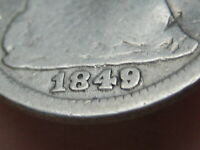 1849/8 9 OVER 8 OVERDATE SEATED LIBERTY HALF DIME- GOOD DETAILS