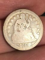 1841 O SEATED LIBERTY SILVER DIME- NEW ORLEANS, GOOD DETAILS