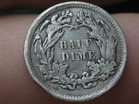 1873 S SEATED LIBERTY HALF DIME- FULL DATE, VG/FINE DETAILS