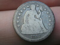 1857 O SEATED LIBERTY SILVER DIME- GOOD DETAILS