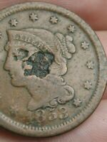 1853 BRAIDED HAIR LARGE CENT PENNY- COUNTERSTAMPED? CHINESE CHOP MARK?