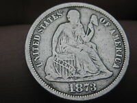 1873 SEATED LIBERTY DIME- NO ARROWS, CLOSED 3, FINE/VF DETAILS