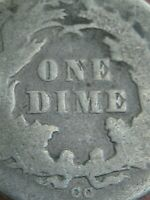 1877 CC SEATED LIBERTY SILVER DIME-  CARSON CITY, GOOD DETAILS