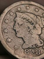 1848 BRAIDED HAIR LARGE CENT PENNY- VG/FINE DETAILS