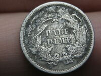 1872 P SEATED LIBERTY HALF DIME- VG DETAILS