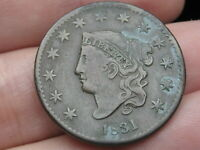 1831 MATRON HEAD LARGE CENT PENNY, LARGE LETTERS, VF/EXTRA FINE  DETAILS