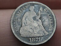 1871 P SEATED LIBERTY HALF DIME- VG DETAILS