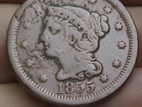 1855 BRAIDED HAIR LARGE CENT PENNY- UPRIGHT 5'S FINE/VF DETAILS