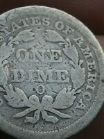 1851 O SEATED LIBERTY SILVER DIME- GOOD/VG DETAILS