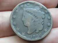 1826 MATRON HEAD LARGE CENT PENNY, NORMAL DATE