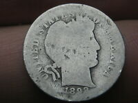 1898 S SILVER BARBER DIME- ABOUT GOOD DETAILS