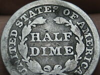 1843 P SEATED LIBERTY HALF DIME- GOOD/VG DETAILS