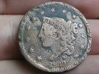 1839 MATRON HEAD LARGE CENT PENNY- HEAD OF 1838, BEADED CORDS