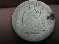 1855 O SEATED LIBERTY HALF DIME- WITH ARROWS, ABOUT GOOD DETAILS