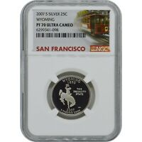 2007 S WYOMING STATE PROOF SILVER QUARTER NGC PF70 ULTRA CAM